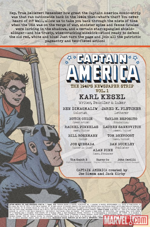 CAPTAIN AMERICA: THE 1940's NEWSPAPER STRIP #1 credits page