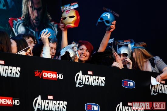 Avengers fans at the red carpet premiere of Marvel's The Avengers in Rome