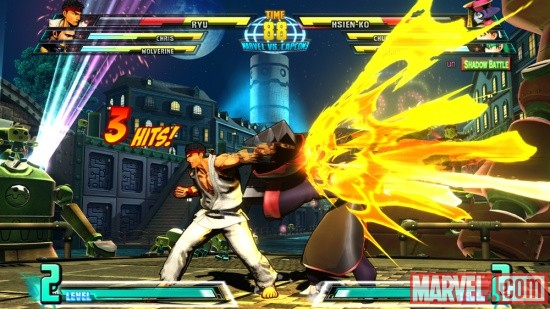 Screenshot of Ryu vs. Hsien-Ko in Shadow Mode in Marvel vs. Capcom 3