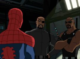 Spider-Man with Nick Fury and Blade in Marvel's Ultimate Spider-Man