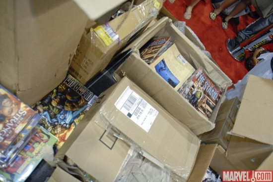 Marvel Booth comics and swag