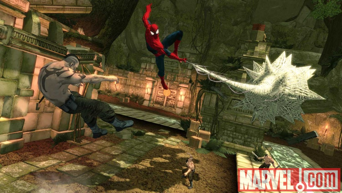 A screenshot of Amazing Spider-Man from Spider-Man: Shattered Dimensions
