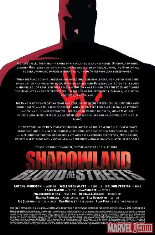 Shadowland: Blood on the Streets #1 recap page