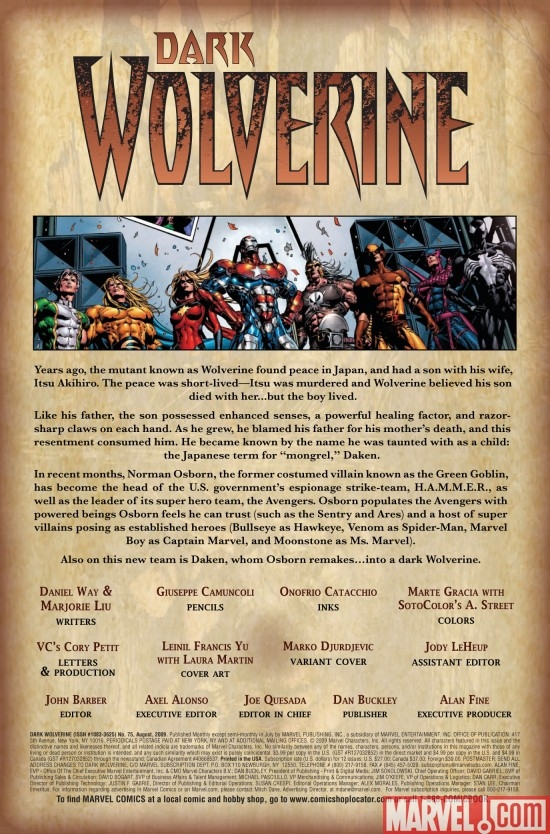 DARK WOLVERINE #75, intro page