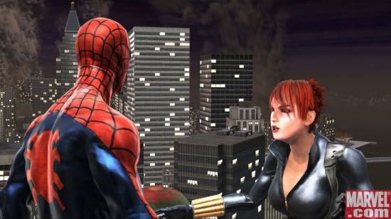 The Black Widow talks with Spider-Man