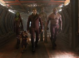 Gamora (Zoe Saldana), Rocket, Star-Lord (Chris Pratt), Groot & Drax (Dave Bautista) form Marvel's Guardians of the Galaxy