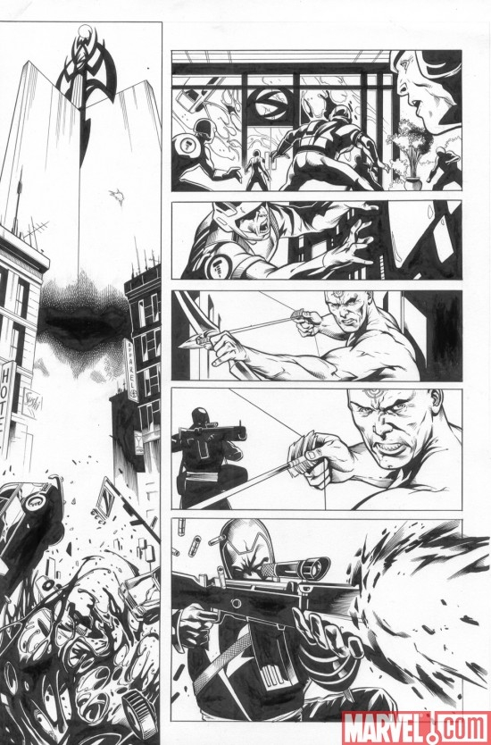 DARK REIGN: THE LIST - AVENGERS black and white preview art by Marko Djurdjevic