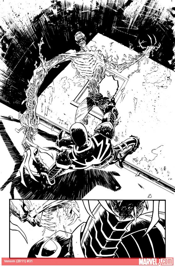 Venom (2011) #31 black and white preview art by Declan Shalvey