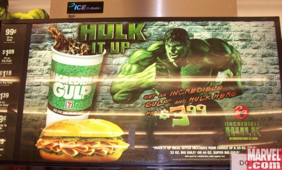 Incredible Hulk display over soda fountain
