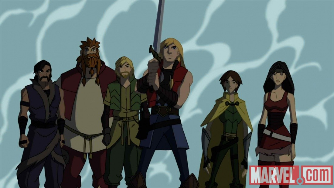 Marvel.com exclusive screenshot of the cast of Thor: Tales of Asgard
