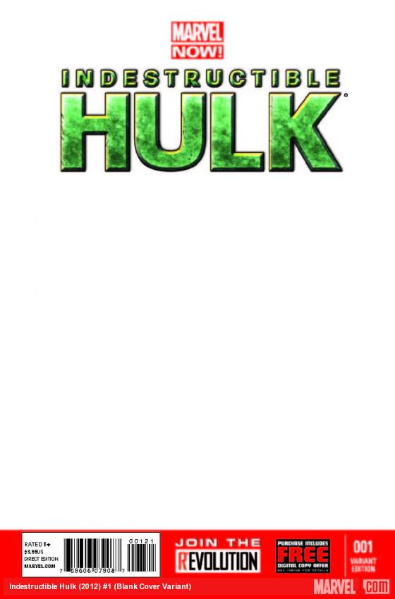 INDESTRUCTIBLE HULK 1 BLANK COVER VARIANT