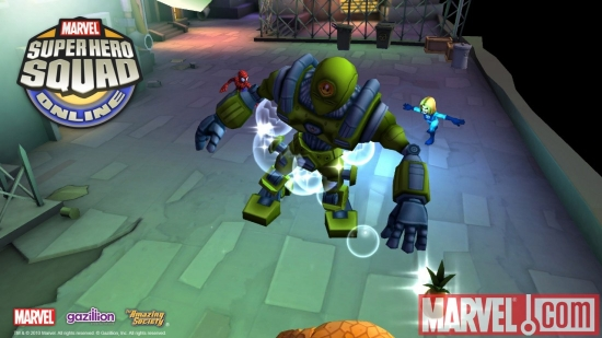 Screenshot of Invisible Woman and Spider-Man from Super Hero Squad Online