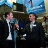 Chris Evans does an interview at the NYSE. Photo By Ben Hider