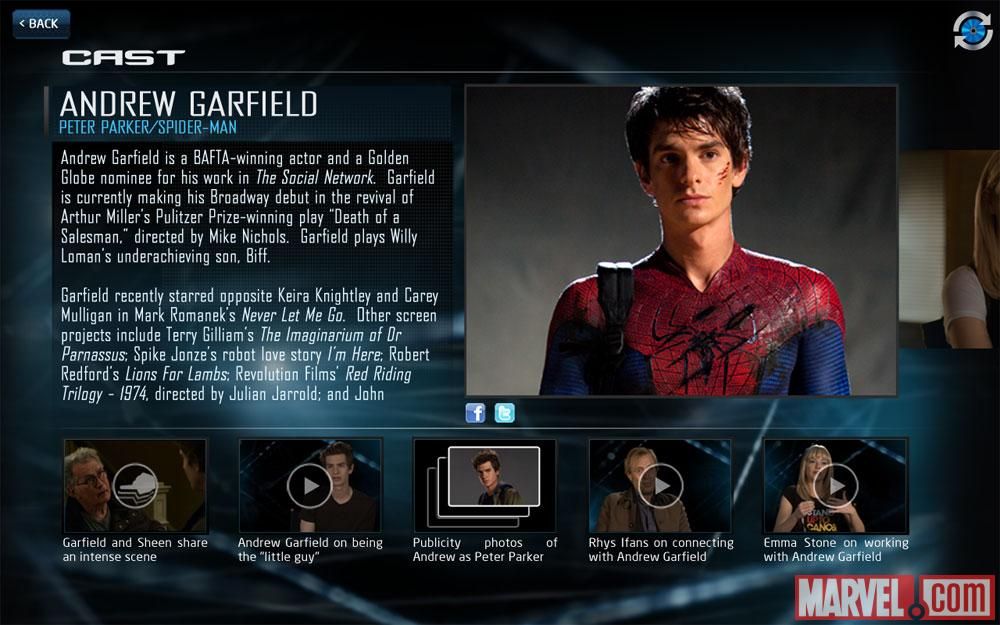 Andrew Garfield as Peter Parker/Spider-Man in The Amazing Spider-Man Second Screen App