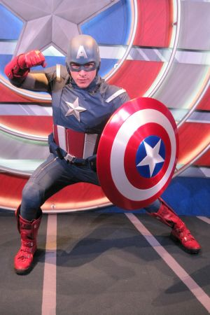 Cap strikes a pose at the Captain America: The Living Legend and Symbol of Courage exhibit at Disneyland Park in Anaheim