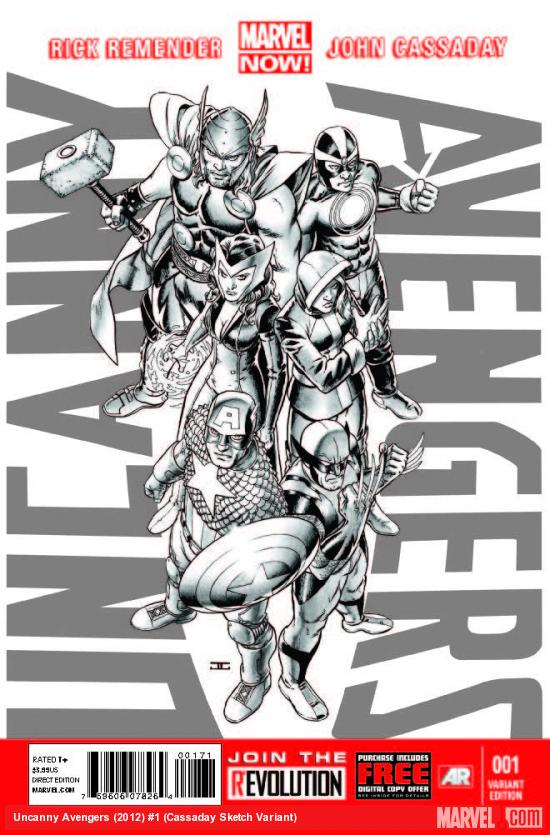 UNCANNY AVENGERS 1 CASSADAY SKETCH VARIANT (NOW, WITH DIGITAL CODE)