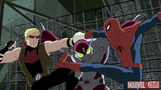 Hawkeye & Spidey team-up against the Beetle Ultimate Spider-Man