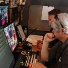 Backstage in the Livestream truck, getting ready for the premiere