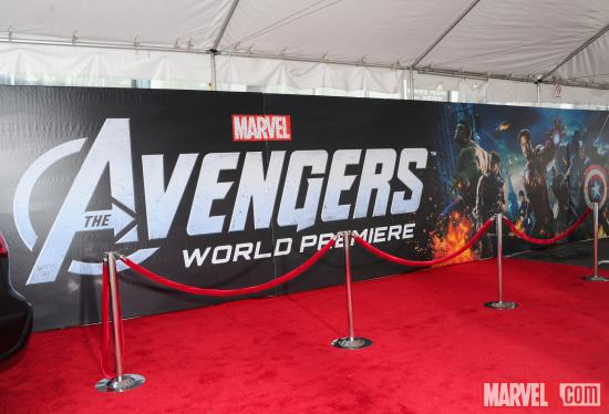 Avengers movie logo on red carpet