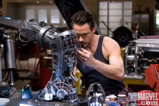 Tony Stark working on Iron Man's jet boots