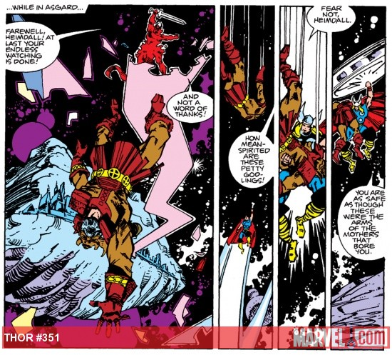 Heimdall defeated by Surtur