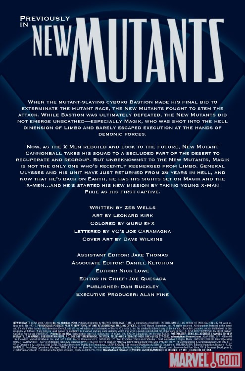 New Mutants #16 recap page