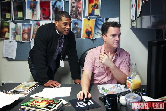 Yankees Second Baseman Robinson Cano with Marvel Senior Editor Stephen Wacker
