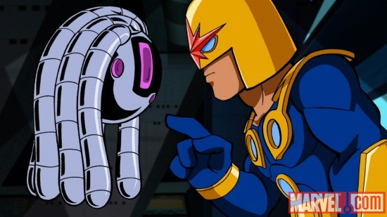 Nova and H.E.R.B.I.E.'s love in The Super Hero Squad Show