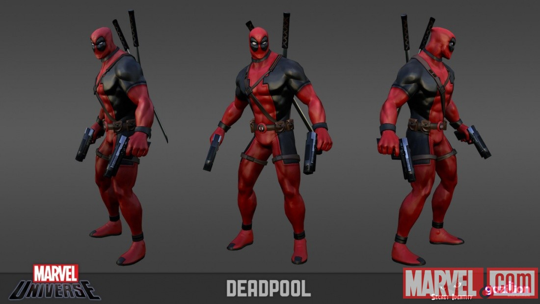 Deadpool model sheet from the Marvel Universe MMO