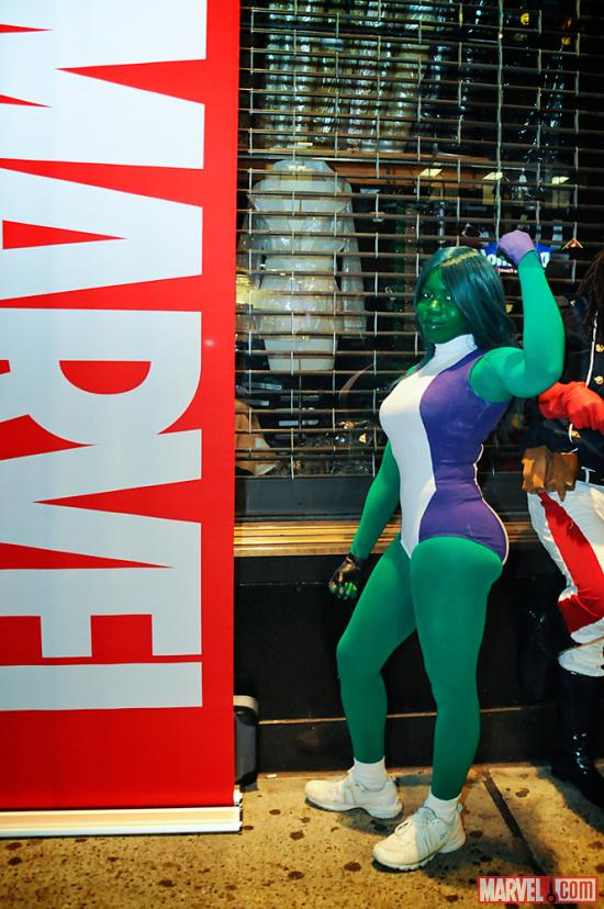 She-Hulk Cosplayer at AvX Release Party at Midtown Comics