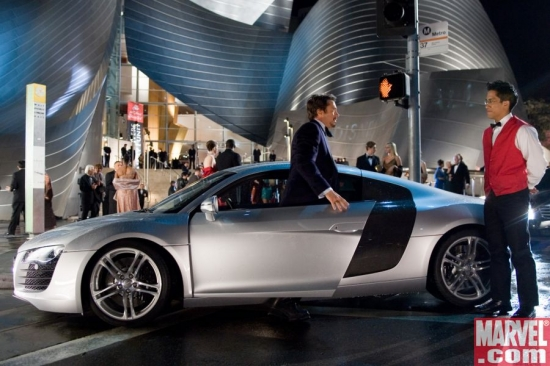 Robert Downey Jr. emerges from Tony Stark's Audi R8