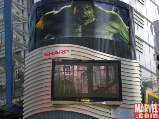 The Incredible Hulk trailer plays periodically on this display at 40th St. & 7th Ave.