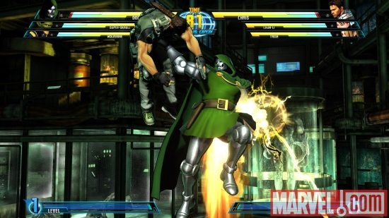 Screenshot of Doctor Doom and Chris Redfield from ''Marvel vs. Capcom 3''