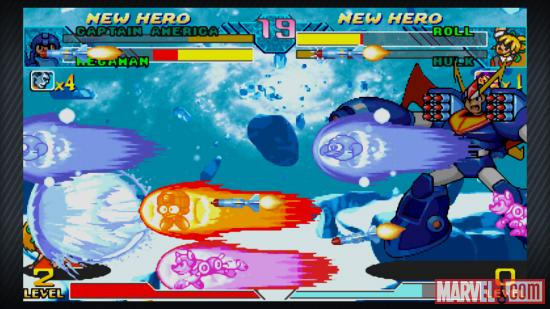 Screenshot of Mega Man vs. Roll in Marvel vs. Capcom Origins