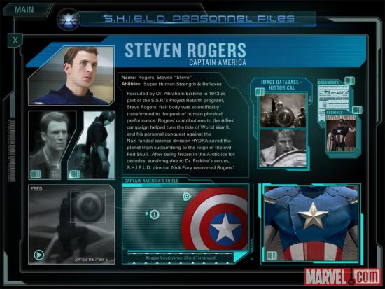 Screenshot of Steve Rogers Personnel File from the Second Screen Experience app