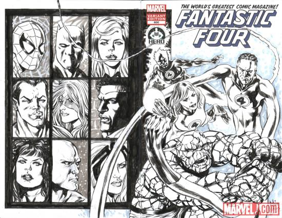 Fantastic Four #600 Hero Initiative variant cover by Mike Perkins