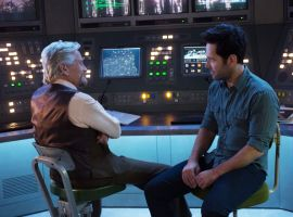 Hank Pym (Michael Douglas) chats with Scott Lang (Paul Rudd) in Marvel's Ant-Man
