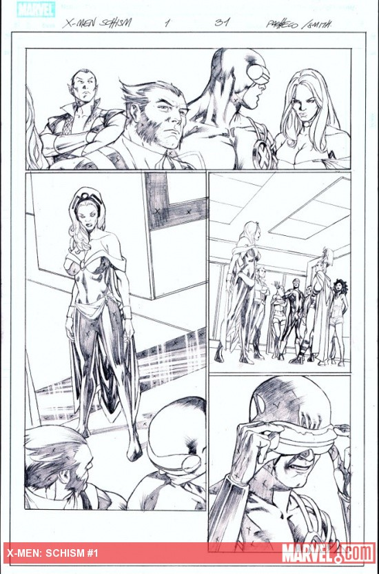X-Men: Schism #2 penciled preview art by Carlos Pacheco