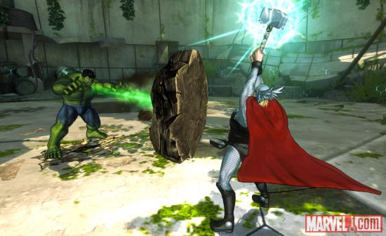 Screenshot of Hulk vs. Thor in Marvel Avengers: Battle for Earth