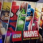 The LEGO Marvel Super Heroes mural at E3, constructed entirely out of LEGO bricks