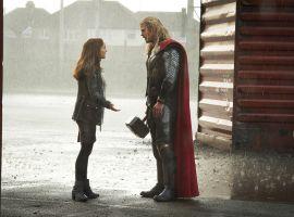 Jane Foster (Natalie Portman) and Thor (Chris Hemsworth) reunite in Marvel's Thor: The Dark World