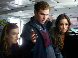 Agents Simmons (Elizabeth Henstridge) & Fitz (Iain De Caestecker) & Skye (Chloe Bennet) in Marvel's Agents of S.H.I.E.L.D.
