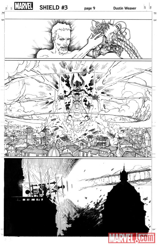 S.H.I.E.L.D. #3 black and white preview art by Dustin Weaver 2