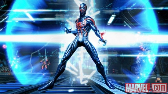 Marvel.com exclusive screenshot of Spider-Man 2099 from Spider-Man: Edge of Time