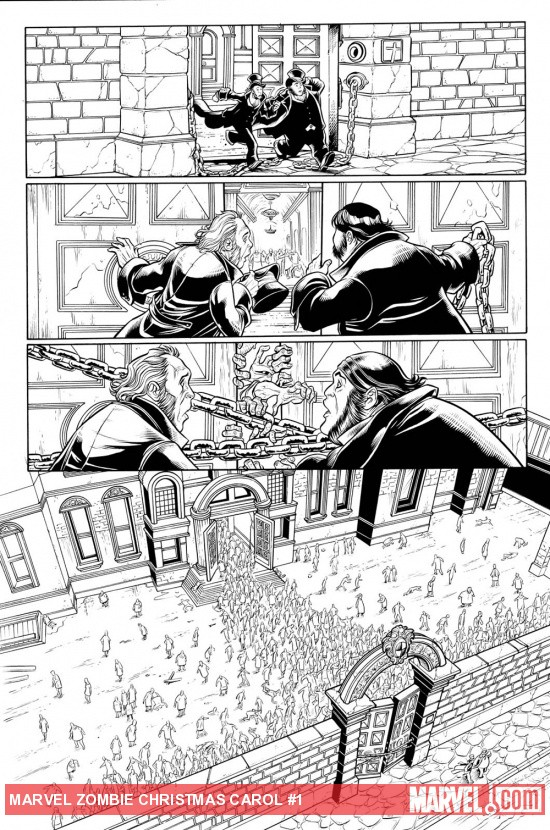 Marvel Zombies Christmas Carol #1 black and white preview art by David Baldeon