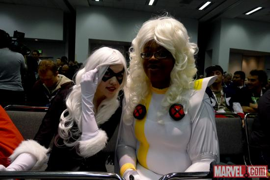 Storm and Black Cat cosplayers at Wondercon 2012
