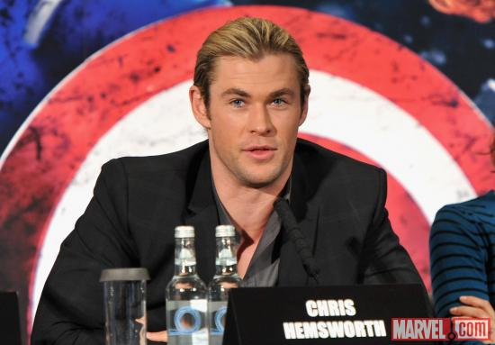 "Chris Hemsworth at the press conference at the London premiere of ""Marvel's The Avengers"""