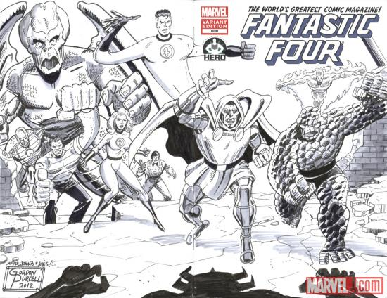 Fantastic Four #600 Hero Initiative variant cover by Gordon Purcell