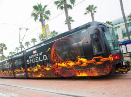 Marvel's Agents of S.H.I.E.L.D. graces the San Diego trolleys ahead of Comic-Con International (photo by Pat Loika)