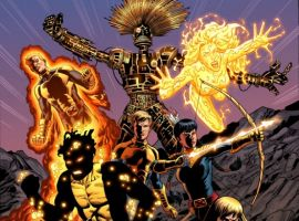 Image Featuring Sunspot, Wolfsbane, Warlock (Technarchy), New Mutants, Cypher, Cannonball, Magik (Illyana Rasputin), Magma (Amara Aquilla)